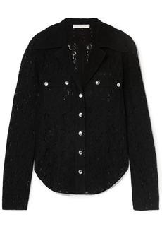 Chloé Woman Snap-detailed Cotton-blend Leavers Lace Shirt Black