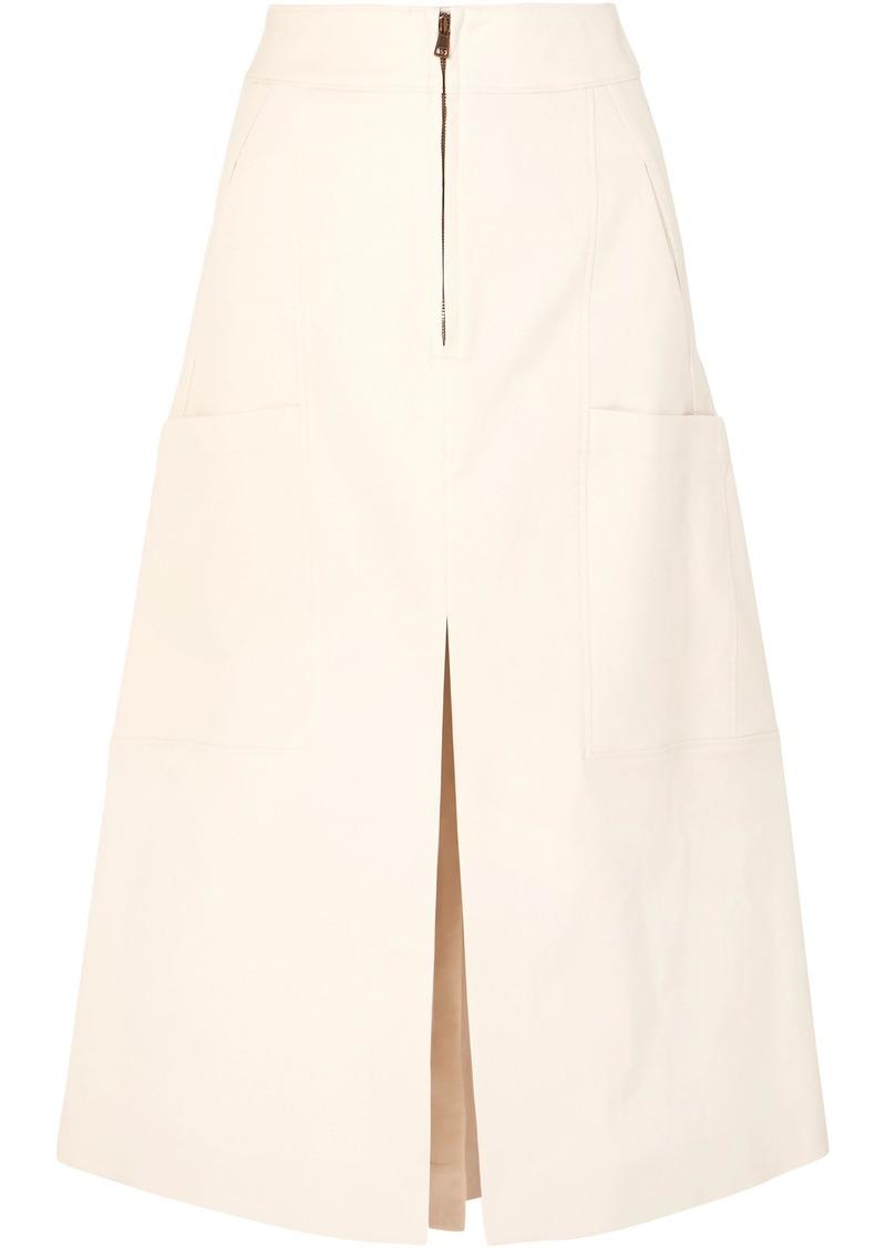 Chloé Woman Stretch-cotton Midi Skirt Cream