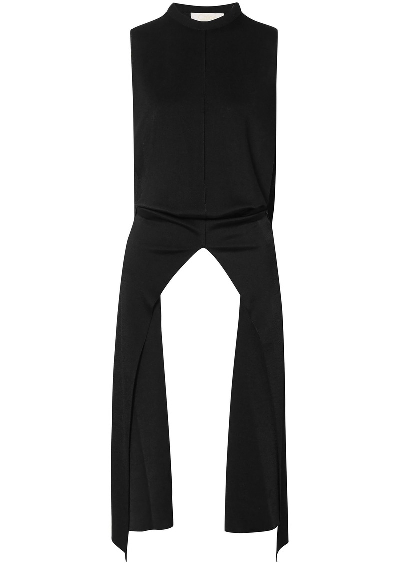 Chloé Woman Stretch-knit Turtleneck Top Black