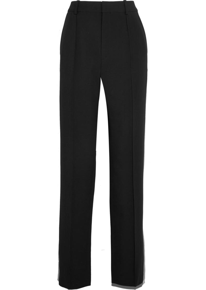 Chloé Woman Striped Cady Wide-leg Pants Black