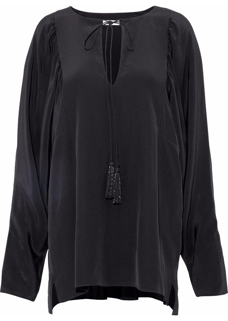 Chloé Woman Tassel-trimmed Silk-satin Top Black