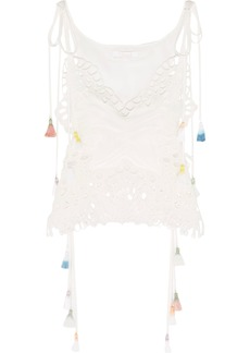Chloé Woman Tasseled Broderie Anglaise And Tulle-paneled Linen-blend Camisole White