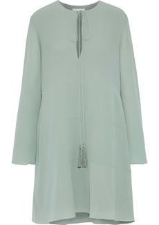 Chloé Woman Tasseled Silk Crepe De Chine Dress Grey Green