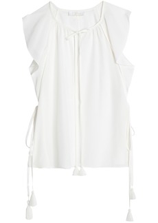 Chloé Woman Tasseled Silk Crepe De Chine Top White