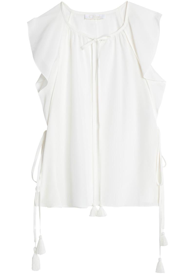 Chloé Woman Tasseled Silk Crepe De Chine Top White