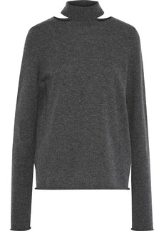 Chloé Woman Tie-back Cutout Cashmere Sweater Charcoal