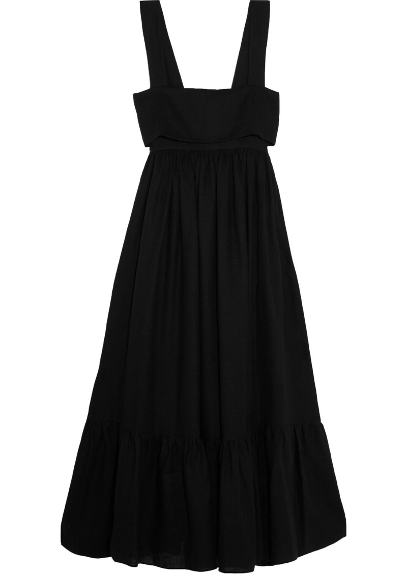 Chloé Woman Tie-back Linen Maxi Dress Black