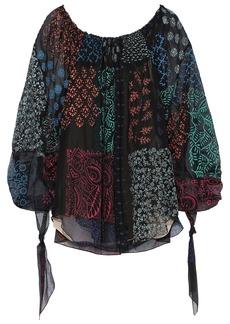 Chloé Woman Tie-detailed Printed Chiffon Blouse Black