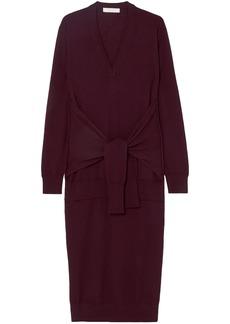 Chloé Woman Tie-front Wool Midi Dress Burgundy