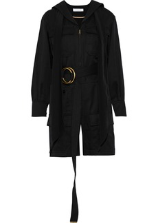 Chloé Woman Tie-neck Belted Wool And Cotton-blend Twill Playsuit Black