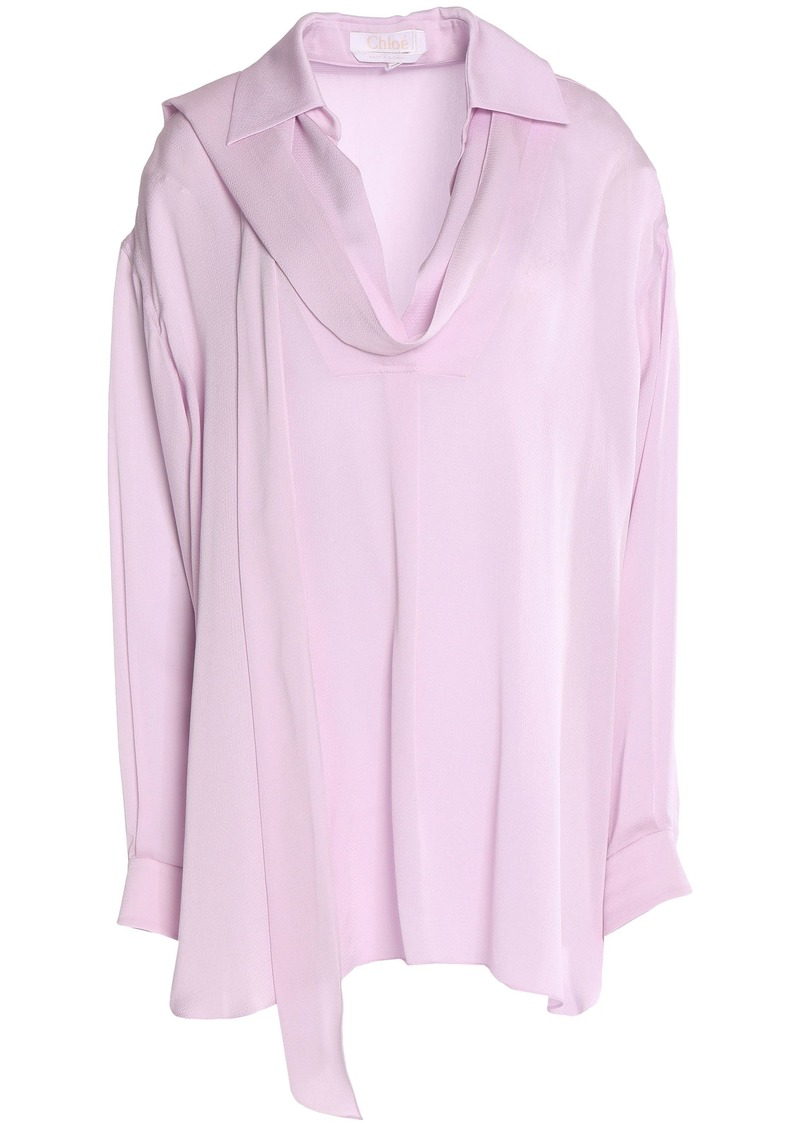 Chloé Woman Tie-neck Hammered Crepe De Chine Blouse Lilac
