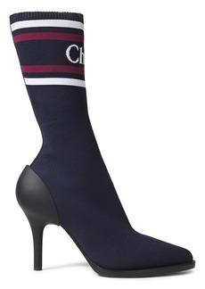 Chloé Woman Tracy Modal-blend Jacquard Sock Boots Storm Blue