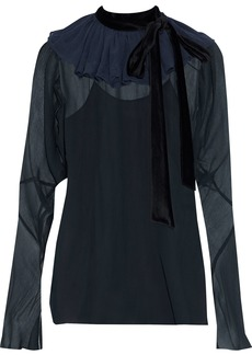 Chloé Woman Velvet-trimmed Ruffled Silk-chiffon Blouse Navy
