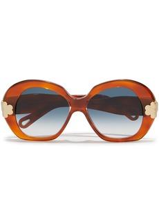 Chloé Woman Venus Round-frame Acetate Sunglasses Bright Orange