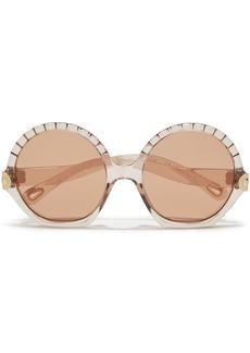 Chloé Woman Vera Round-frame Acetate Sunglasses Light Brown