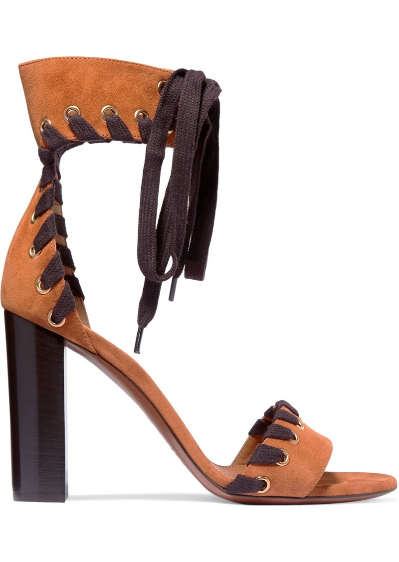 Chloé Woman Whipstitched Suede Sandals Tan