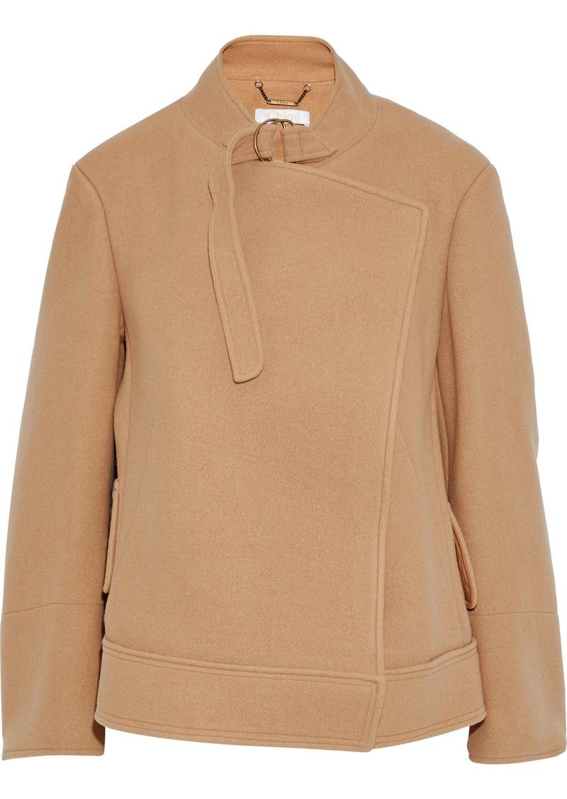 Chloé Woman Wool And Angora-blend Felt Jacket Camel