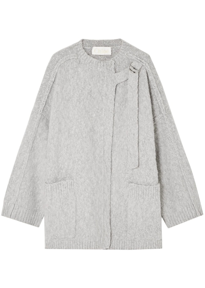 Chloé Woman Wool And Cashmere-blend Cape Light Gray