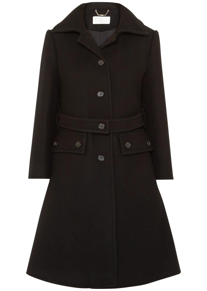 Chloé Woman Wool-blend Coat Black