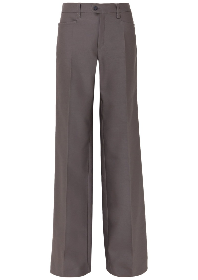 Chloé Woman Wool-blend Twill Wide-leg Pants Anthracite