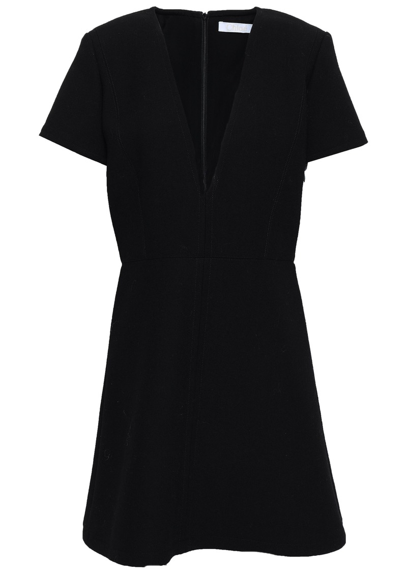 Chloé Woman Wool-crepe Mini Dress Black