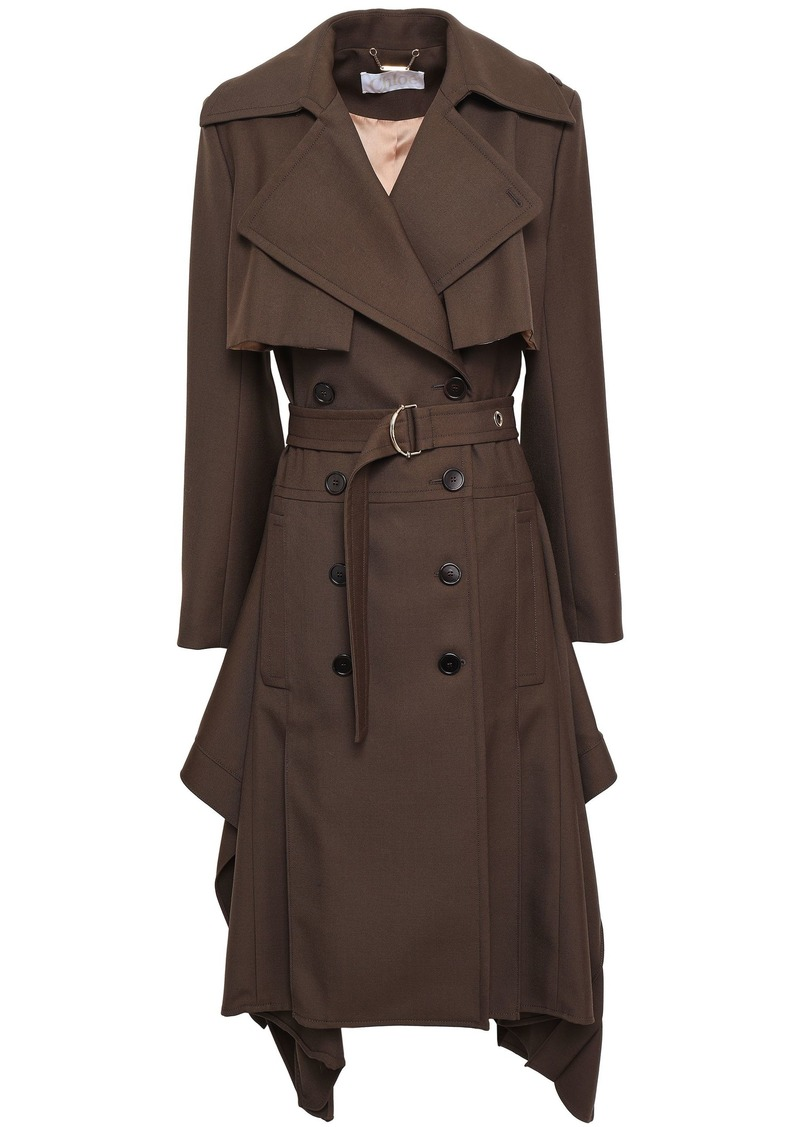 Chloé Woman Wool-twill Trench Coat Chocolate