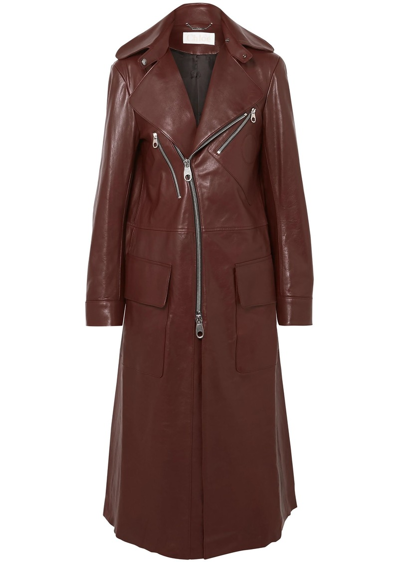 Chloé Woman Zip-detailed Leather Coat Brown