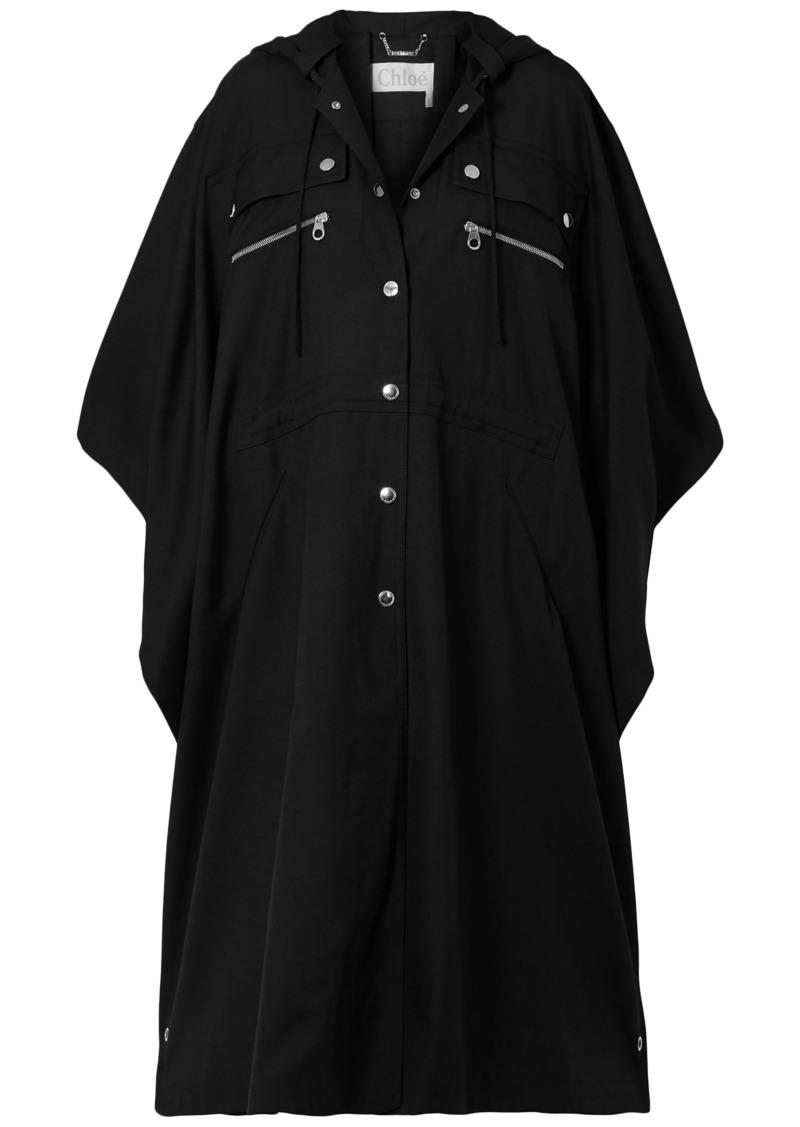 Chloé Woman Zip-detailed Wool-gabardine Cape Black