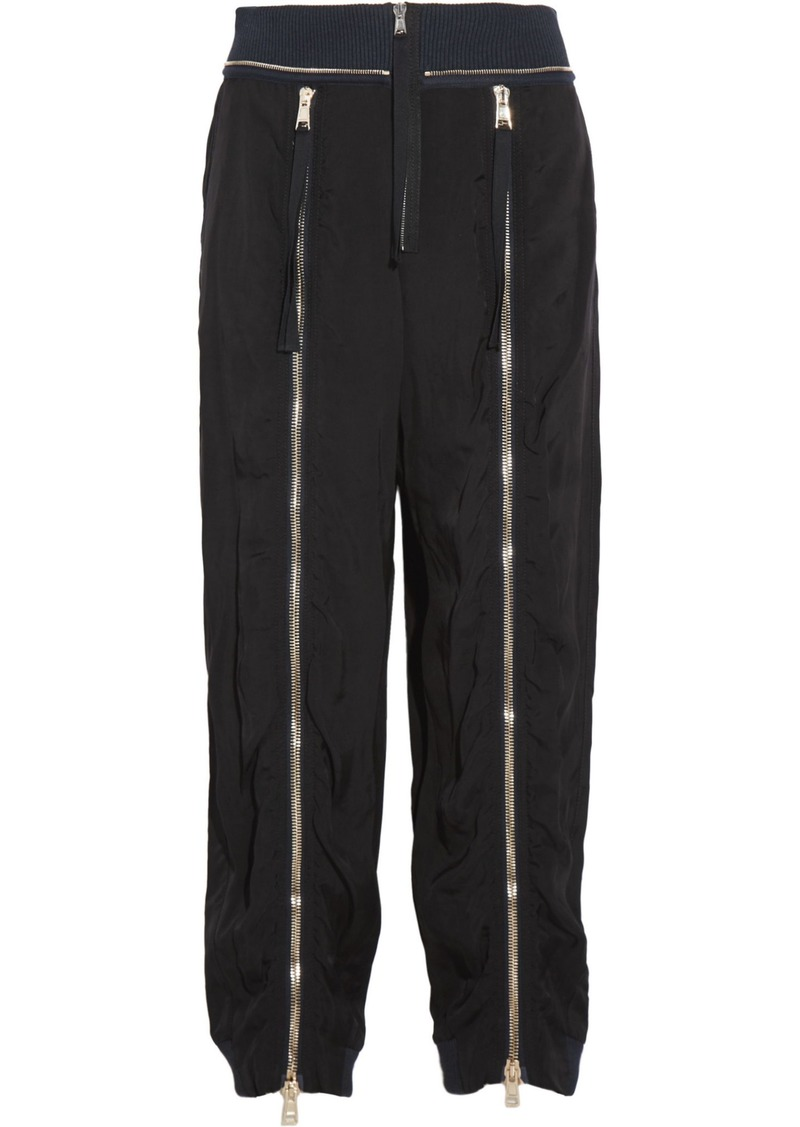 Chloé Woman Zip-embellished Crepe Track Pants Black