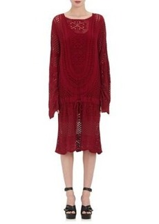 Chloé Women's Cotton-Blend Crochet Cinch-Waist Sweaterdress