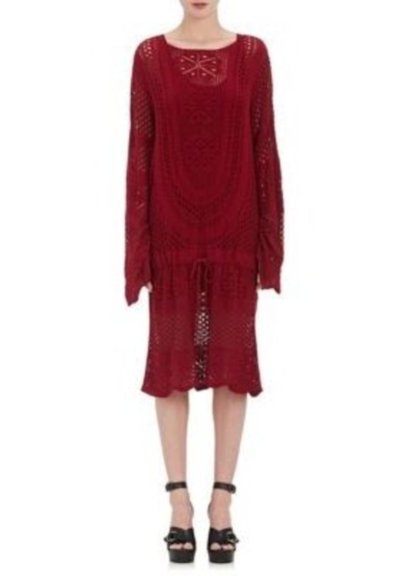 Chloé Women's Cotton-Blend Crochet Cinch-Waist Sweaterdress