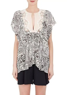 Chloé Women's Floral Silk Short-Sleeve Blouse