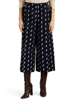 Chloé Women's Horse-Embroidered Wool Wide-Leg Trousers