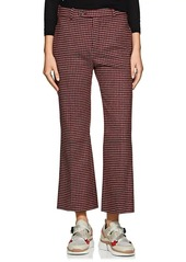 Chloé Women's Houndstooth-Checked Wool-Blend Crop Flare Trousers