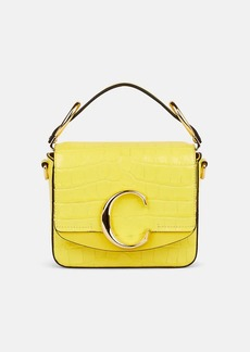 Chloé Women's Initial C Small Crocodile-Stamped Leather Shoulder Bag - Yellow
