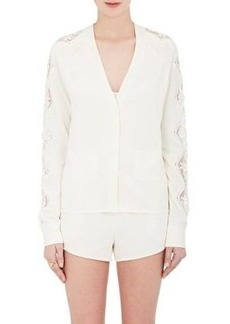 Chloé Women's Lace-Appliquéd Cotton-Silk Cardigan