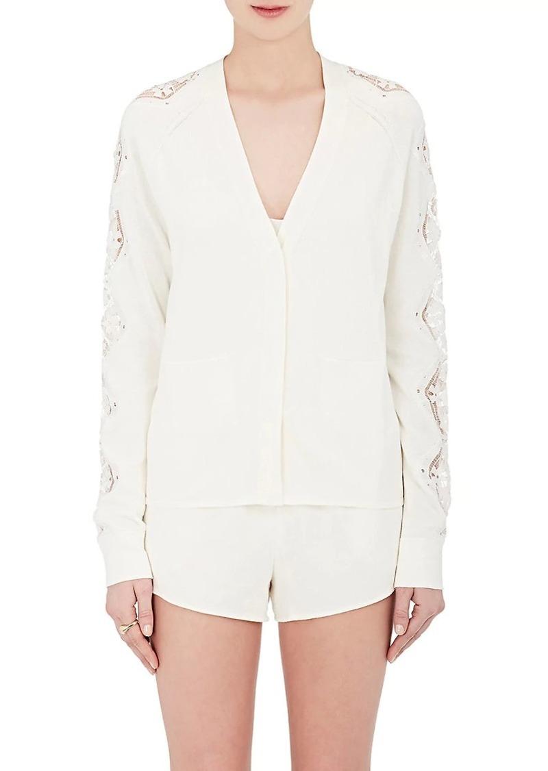Chloé Women's Lace-Appliquéd Cotton-Silk Cardigan