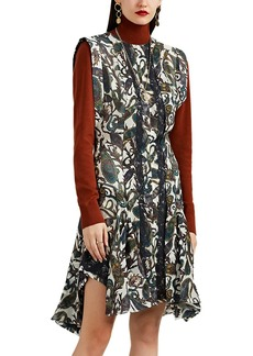 Chloé Women's Lace-Inset Paisley Silk Dress