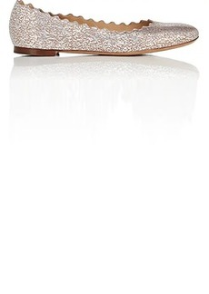 Chloé Women's Lauren Cracked-Foil Leather Flats
