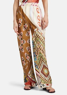 Chloé Women's Mixed-Print Silk Wide-Leg Pants