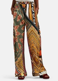 Chloé Women's Patchwork Silk Wide-Leg Pants
