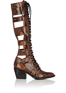 Chloé Women's Python-Print Leather Knee Boots