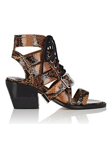 Chloé Women's Python-Print Leather Lace-Up Sandals