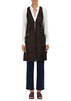 Chloé Women's Ring- & Bead-Embellished Suede Long Vest