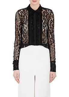 Chloé Women's Ruffle Leopard-Pattern Lace Blouse