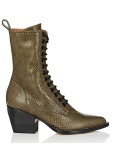 Chloé Women's Rylee Snakeskin Lace-Up Ankle Boots