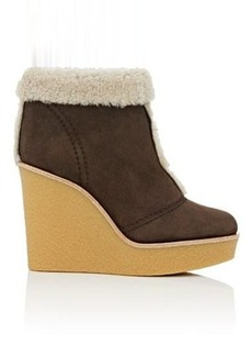Chloé Women's Shearling-Lined Suede Wedge Ankle Boots