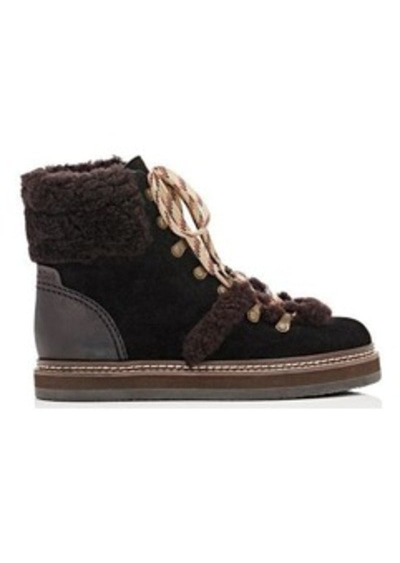 70825c08 See by Chloe Women's Shearling-Trimmed Hiking Boots