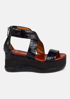 Chloé Women's Stamped-Leather Wedge Platform Sandals