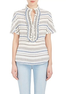 Chloé Women's Striped Linen-Cotton Gauze Blouse